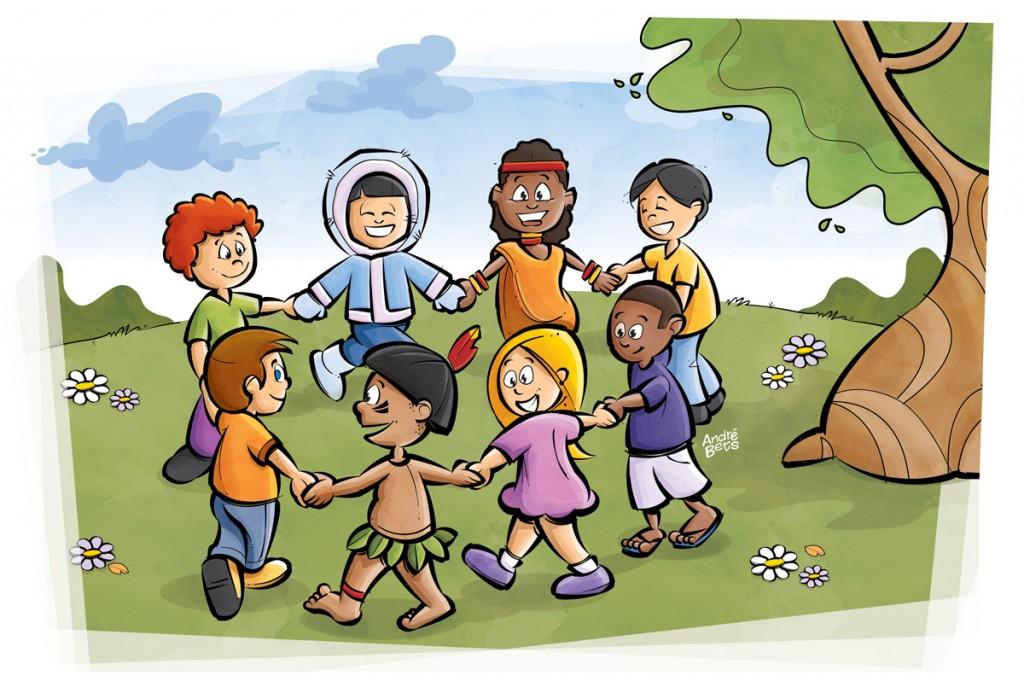 Ciranda Étnica - Ilustração para livro didático - andrebets.com.br - ©André Bets